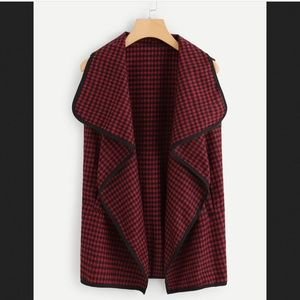 NEW woman jacket vest red and black checkered
